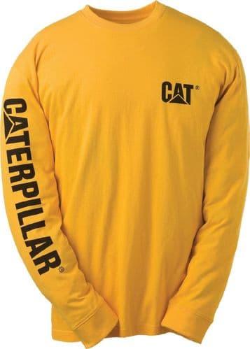 Caterpillar Trademark Banner Long Sleeve T-Shirt Tee Shirts Yellow